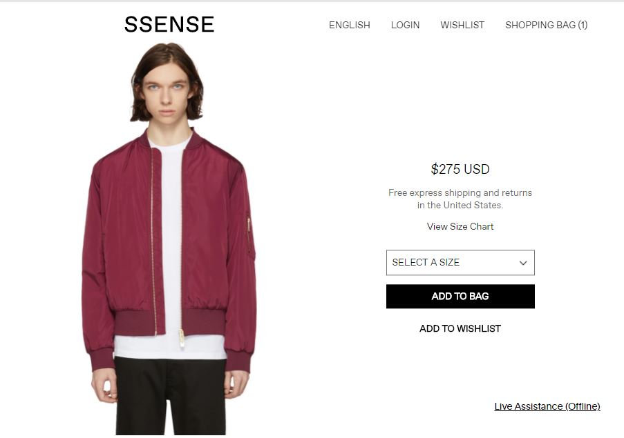موقع سنس ssense اختيار المقاس - add to bag