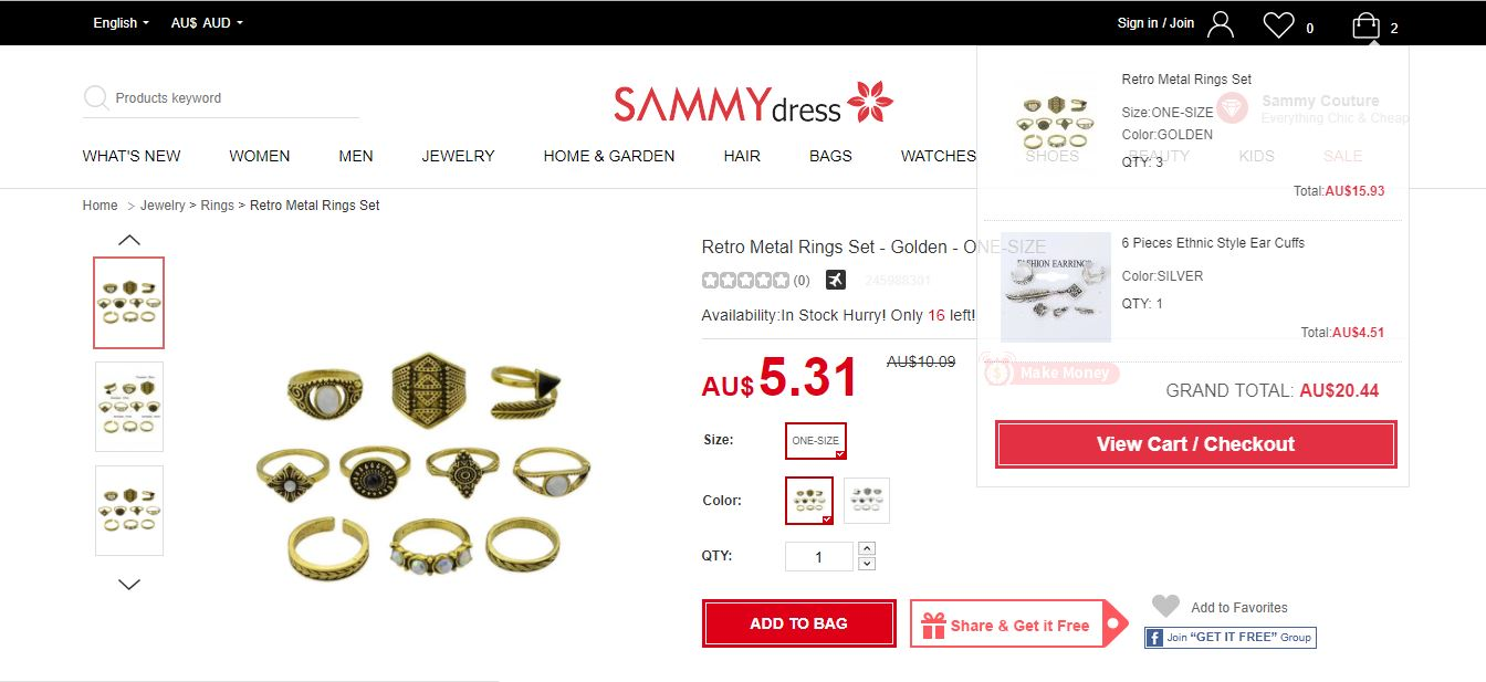 موقع sammy dress -view cart